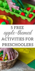 Five FREE Apple-Themed Activities for Toddlers and Preschoolers | tot school, preschool at home, learning at home, tactile activities, wahm kids