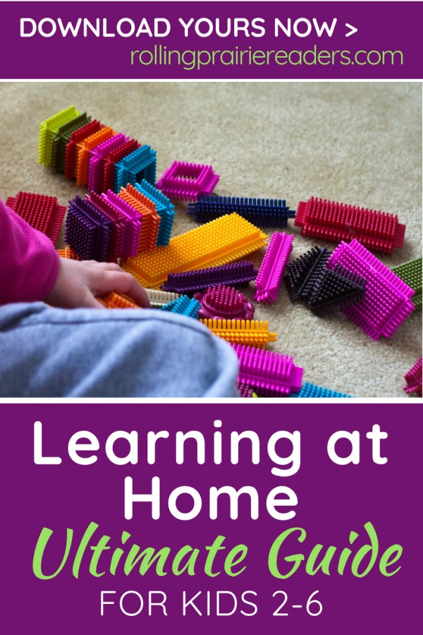 image of bristle blocks with text: Learning at Home Ultimate Guide for Kids