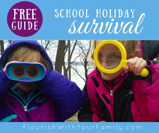 FREE School Holiday Survival Guide from Rolling Prairie Readers, including a calendar template and boredom busters!