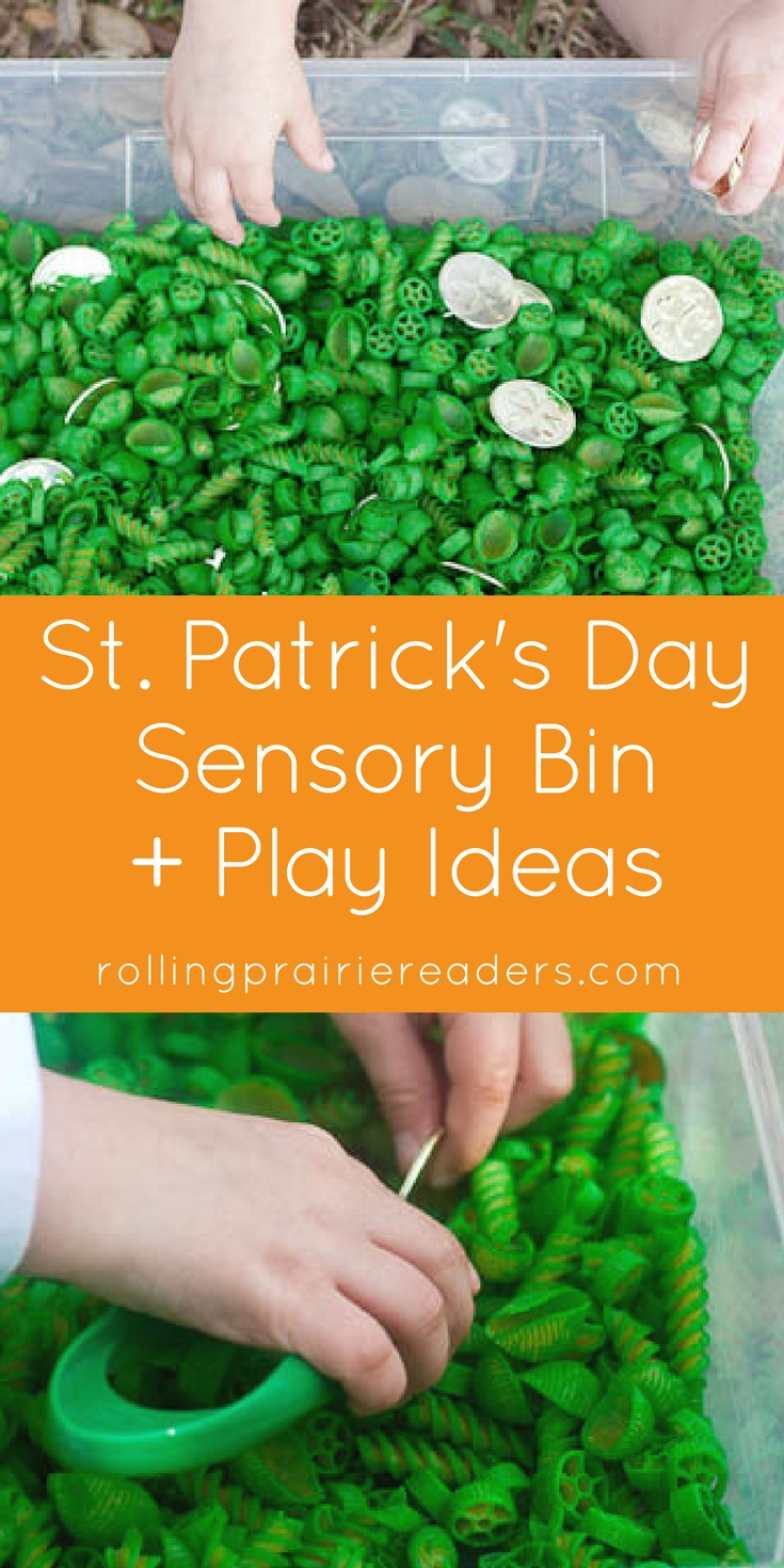 St. Patrick's Day Sensory Bin | learning fun at home, sensory play ideas, invitations to play, activities for kids, gold coins, hands-on learning