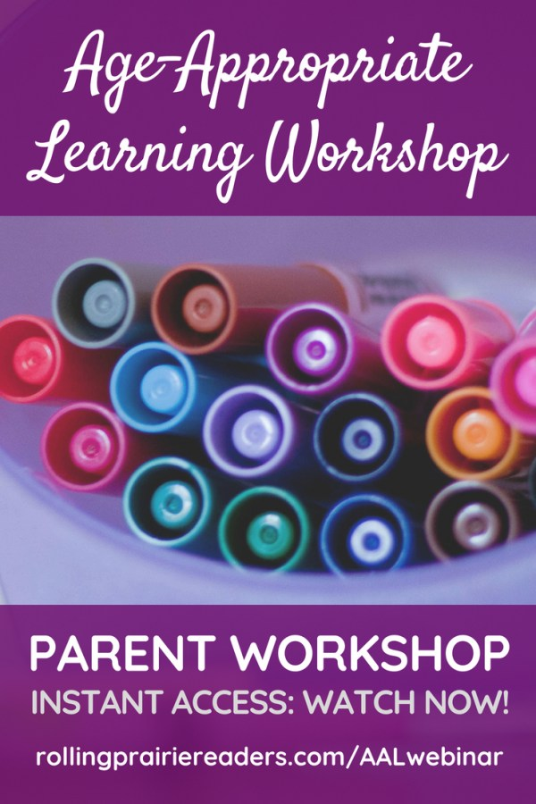 Long image of markers with text overlay: Age-Appropriate Learning Parent Workshop