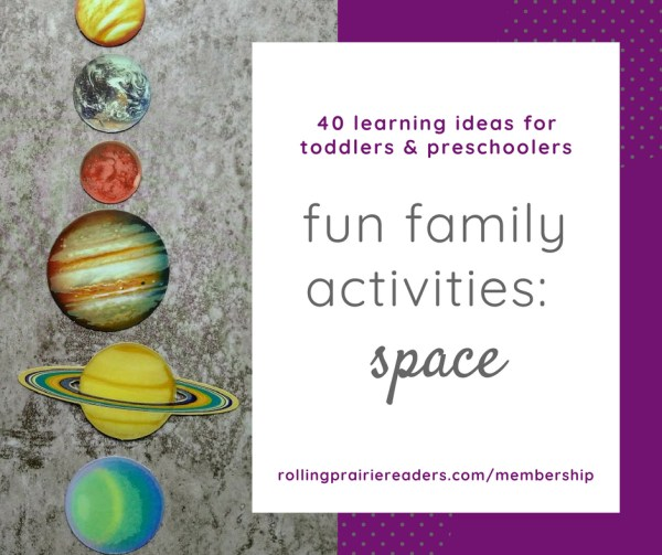 picture of planets with text box: fun family activities   space