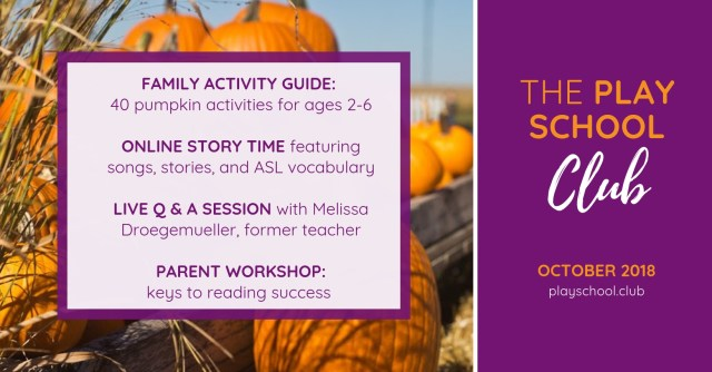 October Schedule for The Play School Club