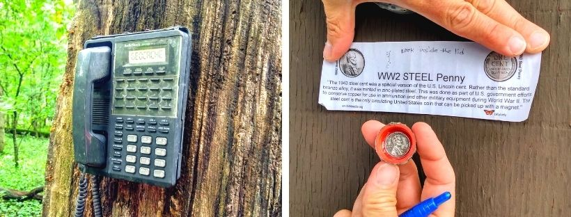 Two pictures of fun geocache containers