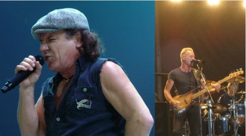 Brian Johnson and Sting. Photo:  Creative Commons Attribution-Share Alike 3.0 (Johnson)/Weatherman90 at en.wikipedia /Creative Commons Attribution 2.0 Generic/ isuperwang on Flickr (Sting)