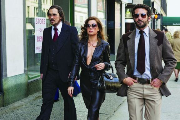 (from left) Christian Bale, Amy Adams and Bradley Cooper in 'American Hustle'. Photo: Francois Duhamel/Columbia Pictures