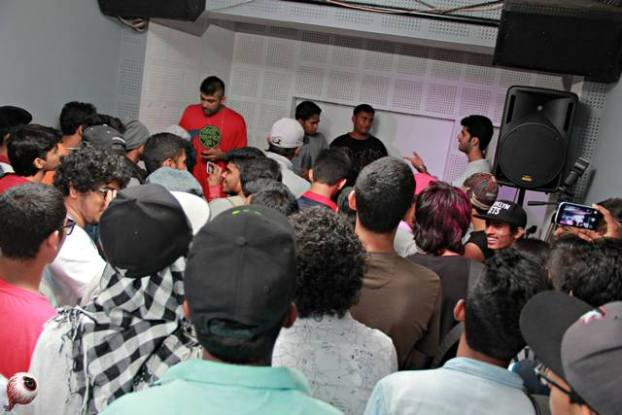 A rap battle in progress at the gig series Monster Battles in Mumbai. Photo: Sushant Sawant