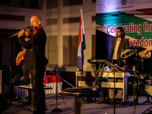 Flautist Wouter Kellerman and Ricky Kej on keyboard, performing for the 21st Freedom Day of South Africa in Mumbai. Photo: Sairaj Kamath