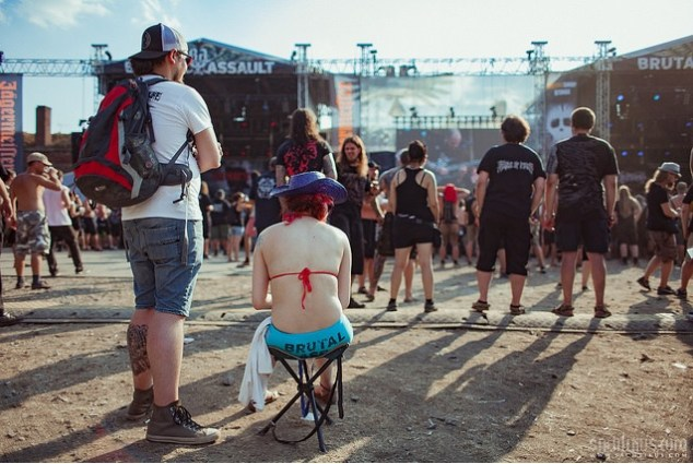 With temperatures going up to 36 degrees at Brutal Assault, fans preferred minimal clothing at the four-day metal festival in Jaromer, Czech Republic. Photo: Sachtikus/Flickr