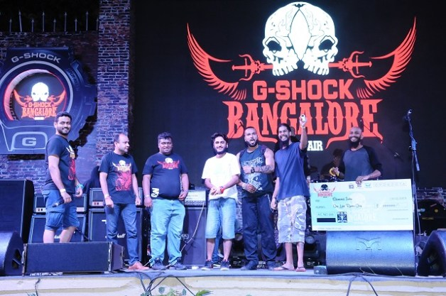(second from left) Wacken Metal Battle organizer Salman Syed with 2016 winners, Bhopal death metal band Elemental. Photo: Courtesy of G-Shock