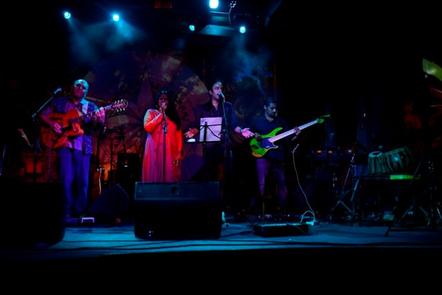 Sanjay Divecha & Secret performing at the 'Secret' album launch at Blue Frog, Mumbai. Photo: Viral Bhayani