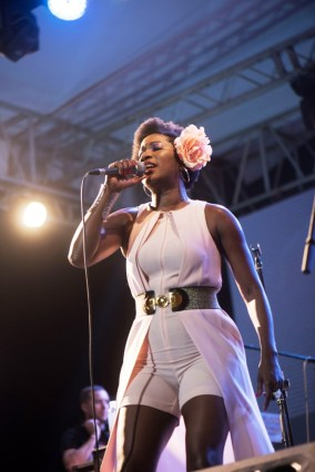 London-based jazz vocalist Vanessa Haynes impressed with her powerful voice.