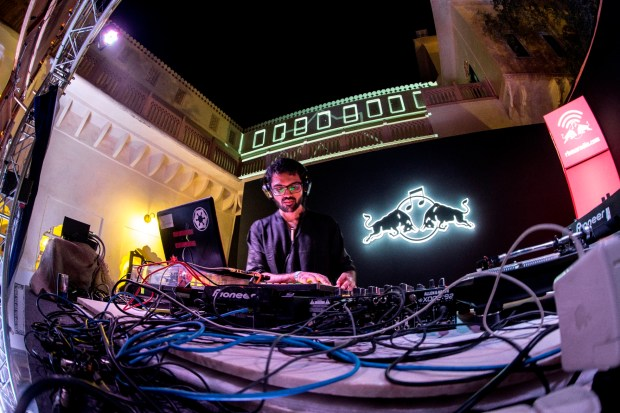 The Sine Painter performs at the RBMA stage at Magnetic Fields Festival 2015 in Alsisar Palace in Rajasthan, India on December 18th, 2015. Photo: Neville Sukhia