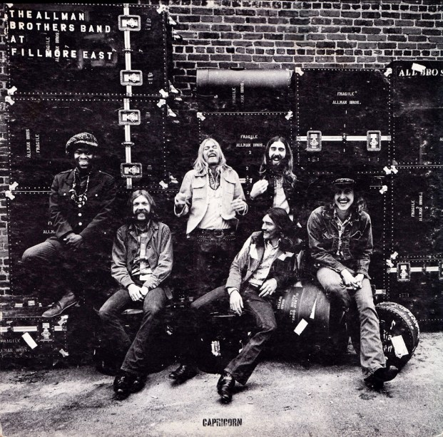 The Allman Brothers on the cover of their 1971 live album 'The Allman Brothers at Fillmore East.'