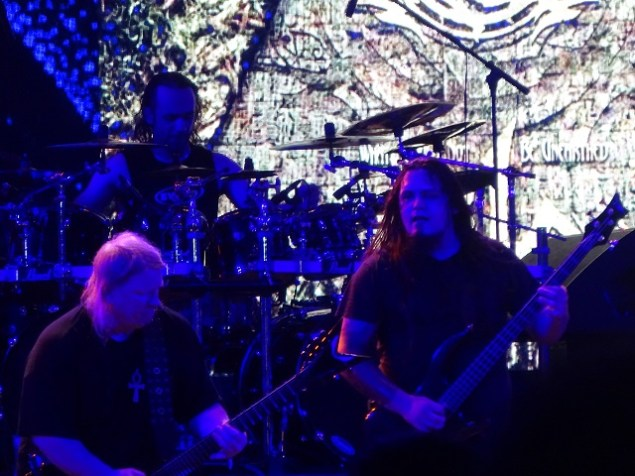Nile's Karl Sanders, George Kollias and Brad Parris (from left) at Bangalore Open Air 2017.