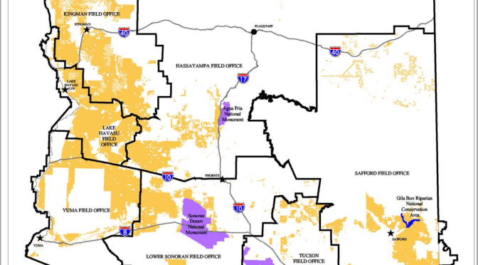 Dispersed Camping on BLM Lands in Arizona Map 2014