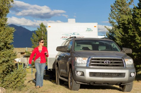 kate and truck at san luis campground colorado
