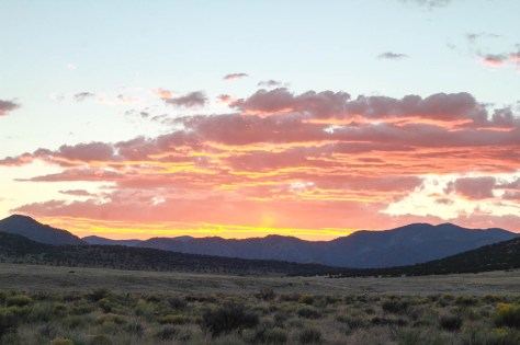 sunset over flagstaff mountain at san luis campground colorado