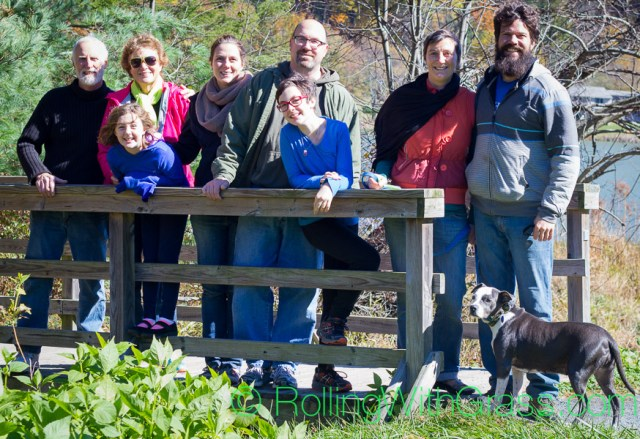 The whole famn damily on Abbott Lake footbridge at Peaks of Otter Rolling with Grass VA 10-2014