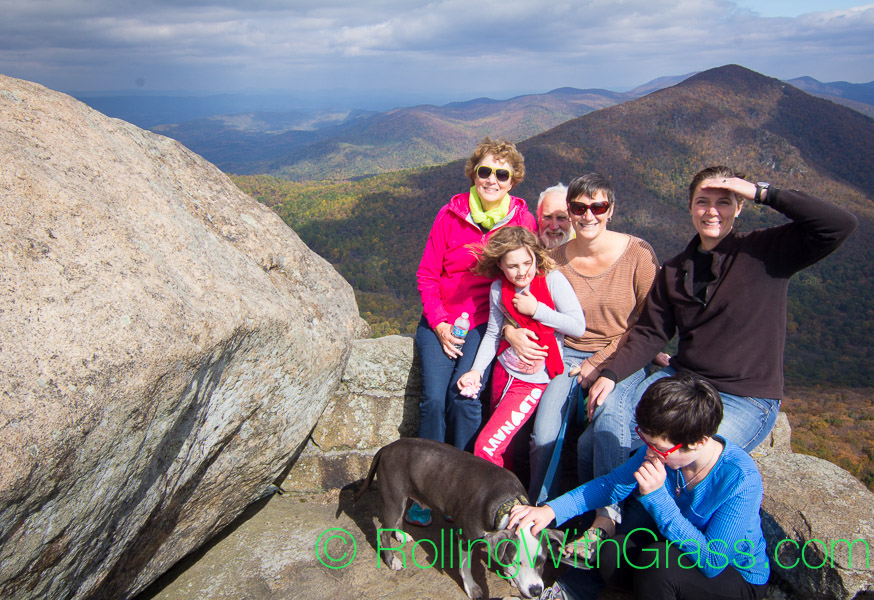 Grass family on top of Sharp Top Mountain at Peaks of Otter Rolling with Grass VA 10-2014