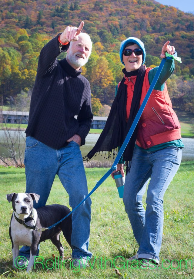 Bill Kate and Dazey getting crazy at Peaks of Otter Rolling with Grass VA 10-2014