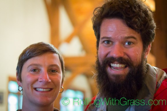 Roger and Kate of Rolling with Grass sampling wines at Sanders Ridge Vineyards