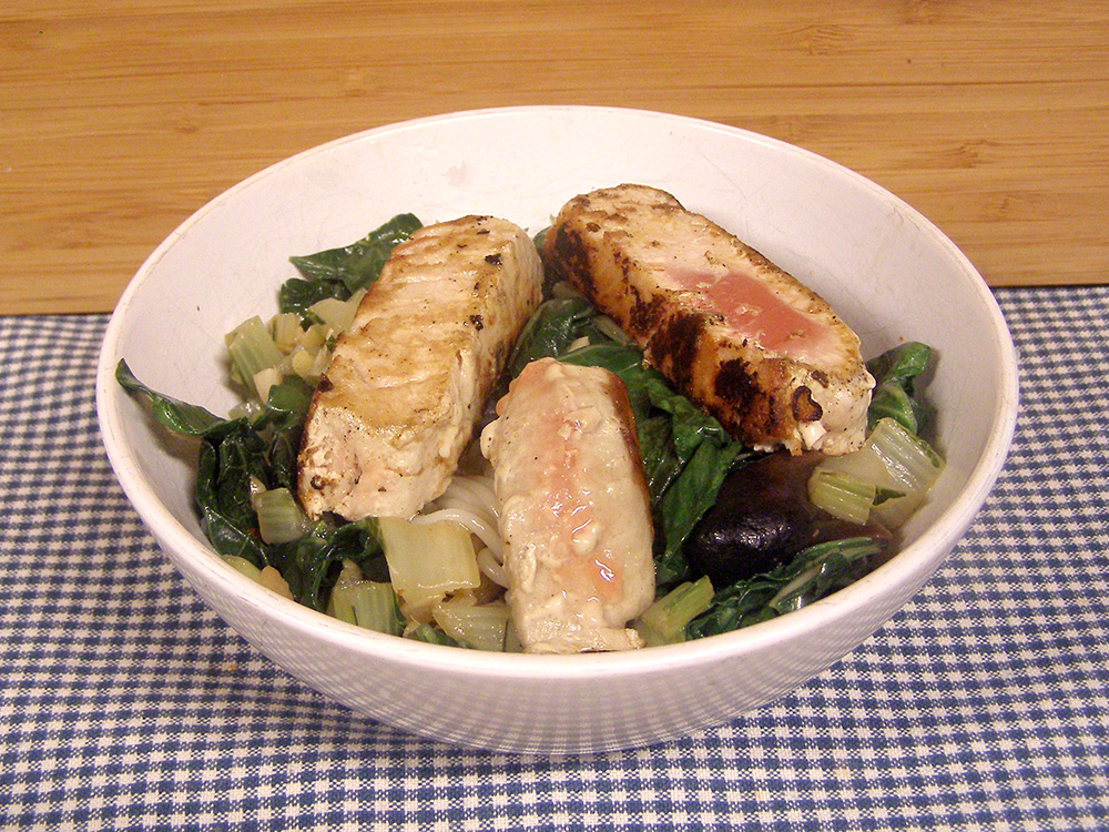 Seared Tuna with Bok Choy and Noodles