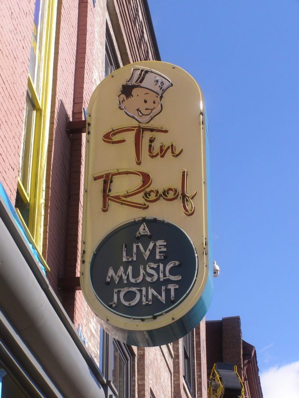 Tin Roof sign on Honky Tonk Highway in Nashville