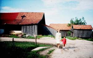 Evjegården 1970 Evje var et trafikknutepunkt i det gamle veisystemet. Her krysset veien fra Rå mot Glomma den gamle hovedveien. Langt opp i siste halvdel av 1900-tallet var den gamle hovedveien i bruk når rolvsøyfolk skulle ta toget fra Lisleby stasjon. Bøndene brukte den gamle Rågata når de kjørte tømmer fra skogen eller melk til Nøkleby meieri. I Rågata lå også den første plattformen for lokaltogets stoppested på Evje. I dag er den gamle veien sørover gjengrodd og utilgjengelig. NSB har stengt Rågata. Foto: Marit Kristine Johansen de Campos