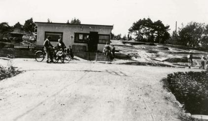 Kiosken til Erland i Haugesvingen på 1950-tallet