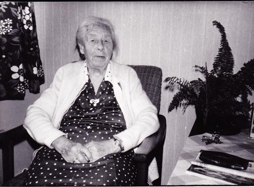 Olga Zakariassen (1893) vokste opp på den søndre gården på Evje. Da hun var ung pike hjalp hun faren med å kjøre ved med hest og vogn fra bruket. Under sitt ekteskap med Arnt gikk hun rundt og solgte nelliker, men hun solgte også andre småting. Foto: Birgit Kristine Holmen, april 1987