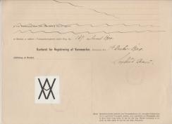 Anton C.E. Apenes fikk registrert et varemerke, et monogram som skulle presses inn på baksiden av krum taksten. Teglstenen fra Evje var kjent for å være av høy kvalitet. Varemerket ble betraktet som et kvalitetsstempel.