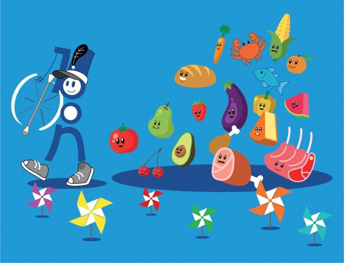 Illustration fanfare d'aliments, de fruits et de légumes