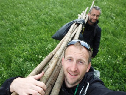With Benoit, we are transporting the mist net sitcks