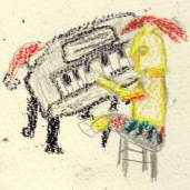 roman playing piano