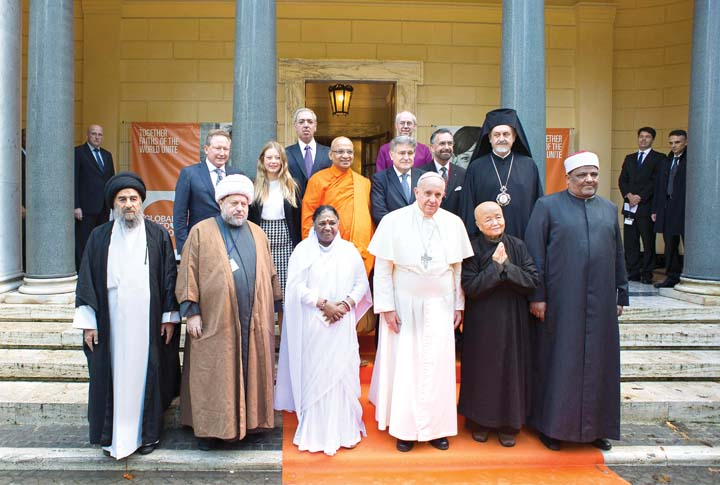Image result for photos of the pope with other faith leaders
