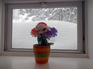 window filled with snow.
