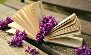 Open book with lilacs