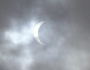 August eclipse near totality