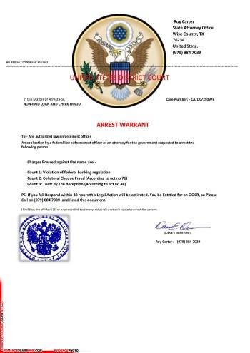 Fake Arrest Warrant Scam