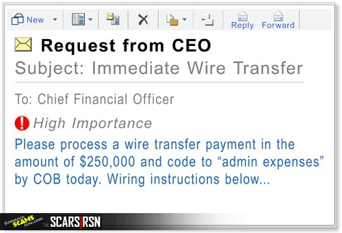 Example of a Business E-Mail Compromise Scam (BEC also known as CEO Scams)