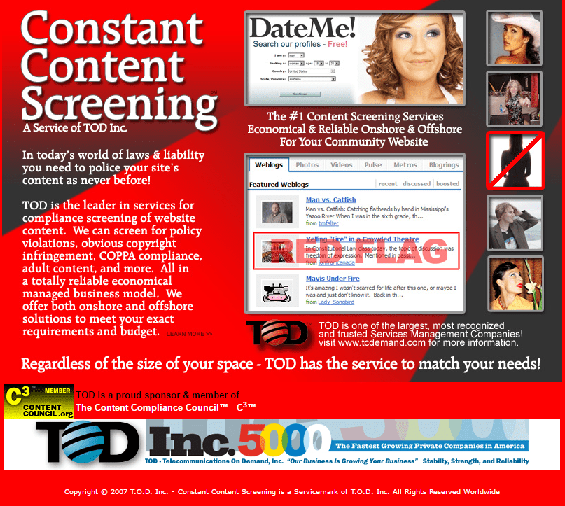 Content Screening Service for Dating websites launched by Dr. Tim McGuinness 2006 for the Dating Industry