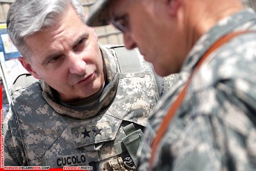 Commanding Gen. of 3rd Infantry Division, Maj. Gen. Tony Cucolo, talks with the Chief of Staff of the Army, Gen. George W. Casey Jr., about security operations in northern Iraq, Apr. 27, 2010. Army photo by D. Myles Cullen (released)