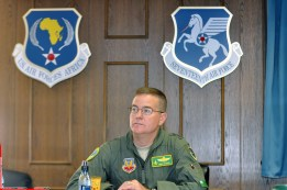 Maj. Gen. Michael Dubie, the adjutant general of the Vermont National Guard, receives an update on the African nation of Senegal at 17th Air Force at Ramstein Air Base in Germany on June 17. Vermont is paired with Senegal in the National Guard's State Partnership Program.