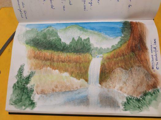 Dessin de E-Tu Waterfalls / Cascade de Itou, Laos
