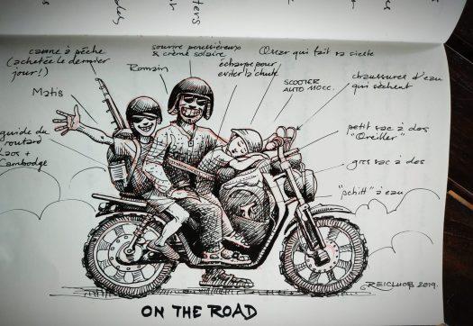 """Dessin """"3 sur la moto"""" - Boucle de Thakhek, Laos"""