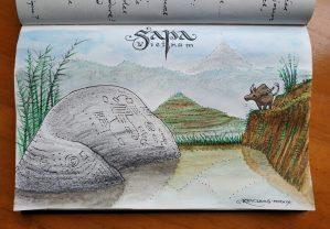 Autour de Sapa : les pétroglyphes préhistoriques (dessin)