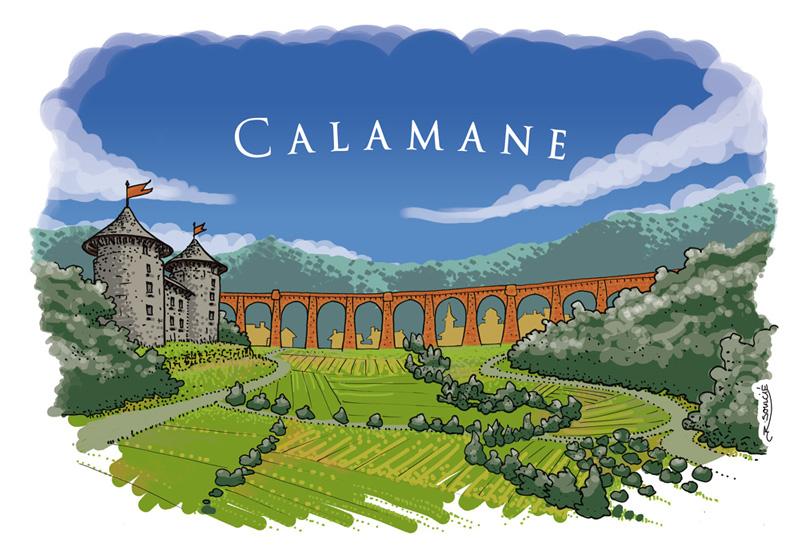 Le village de Calamane, son château, son viaduc - illustration par R.Soulcié