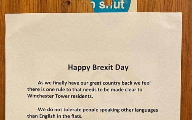"""Brexit. Mesaj într-un bloc din Marea Britanie: """"Nu mai tolerăm decât limba engleză. Aţi infectat această insulă"""". Drama unui cuplu de români """"Muncim din greu pentru ce avem și trăim o viață decentă cu copiii noștri. Nu avem..."""" 1"""