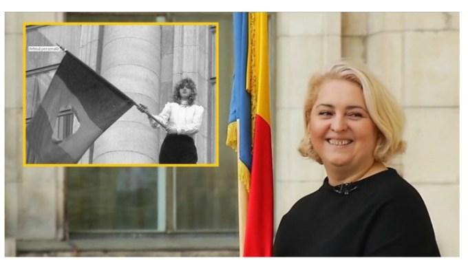 """(Video) Gabriela, fata cu steagul din 22 decembrie 1989: """" Când am plecat de acasă în ziua aceea m-am îmbrăcat cu cele mai bune haine, m-am aranjat, mi-am luat buletinul, în cazul în care mor să mă recunoască cineva. Eram pregătită pentru orice. Asumat. Ori liberă ori moartă."""" 1"""